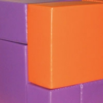 Purple and orange soft square shapes, that fit together.