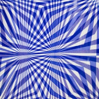 overlapping blue line patterns on a white background.
