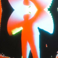 an orange silhouette of a person waving their arms, which leaves a white trail after it on a black background.