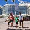 A family walk outside Questacon
