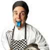 A man dressed as a chef holding a mixing bowl in one hand, an egg beater in the other, and poking his tongue out.
