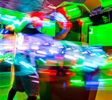 A stylised image of a laser tag battle