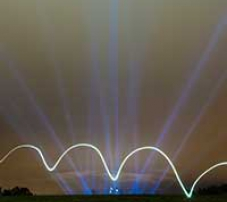 Floodlights projecting into the night sky with a light painted wave in the foreground