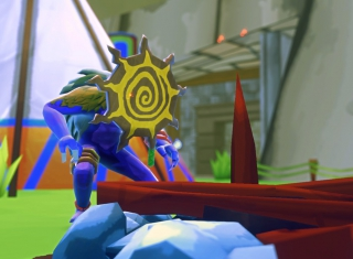 Image from Warden: Melody of the Undergrowth. A strange blue creature stands beside a boat.