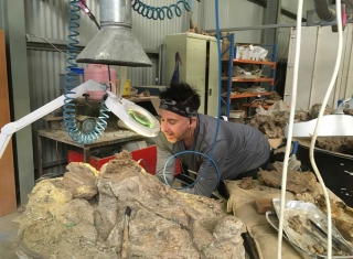 David Cannell at work on site at his most recent dinosaur dig.